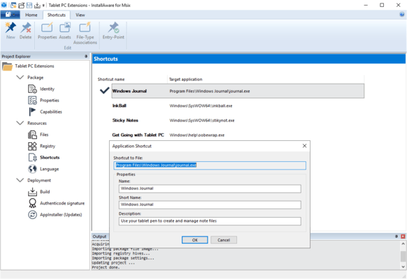 InstallAware MSIX Editor Shortcuts