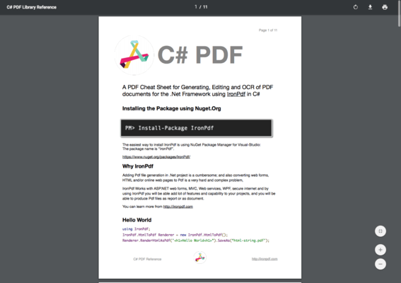 IronPDF - Code Examples and Cheat Sheet