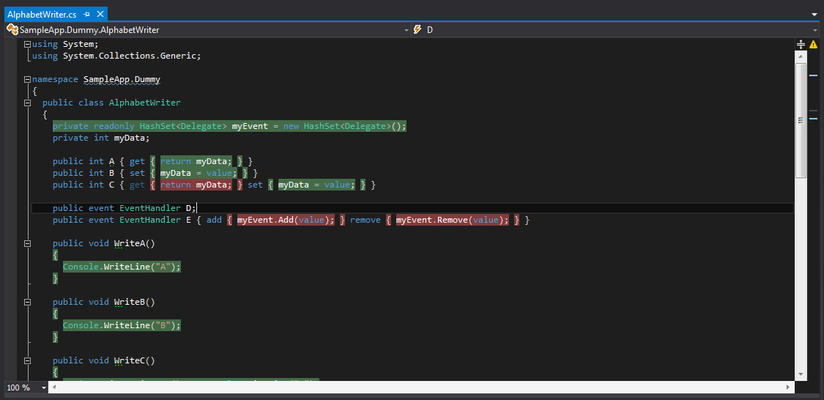 <strong>Coverage Highlighting in Dark Theme</strong><br /><em>Being a Visual Studio 2012 compliant tool, dotCover supports both Light and Dark themes in the latest version of the Microsoft IDE.</em><br /><br />