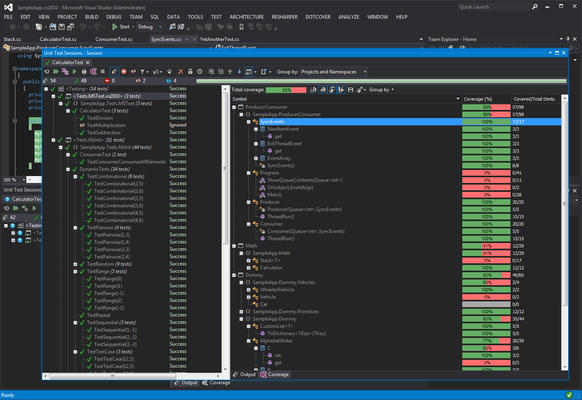 <strong>Support for Dark Theme</strong><br /><em>dotCover supports both Light and Dark themes in Visual Studio 2012.</em><br /><br />
