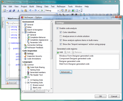 <strong>ReSharper Options</strong><br /><em>ReSharper adds its own language-specific settings and keyboard shortcuts, which you can customize in the Visual Studio Options dialog box (Tools | Options). In addition to Visual Studio settings, you can fine-tune your development environment using the ReSharper Options dialog box (ReSharper | Options). It provides a wide selection of settings, from choosing between two alternative sets of symbol icons to advanced editing behaviors, context actions, unit testing, and more.