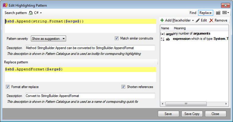 <strong>Structural Search and Replace</strong><br /><em>Even if ReSharper doesn't detect code that you know is wrong, you can write a search pattern describing the code smell that you want to find, and a replace pattern that defines how to improve upon that code smell. Essentially, you're writing your own code inspections and quick-fixes.</em><br /><br />