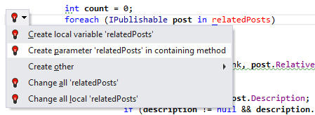 <strong>Creating Code from Usage</strong><br /><em>When ReSharper detects code that it can't find a matching declaration for, it offers multiple ways to create the declaration. Depending on the context, suggestions may include creating a field, parameter, class, interface, and other language entities.</em><br /><br />