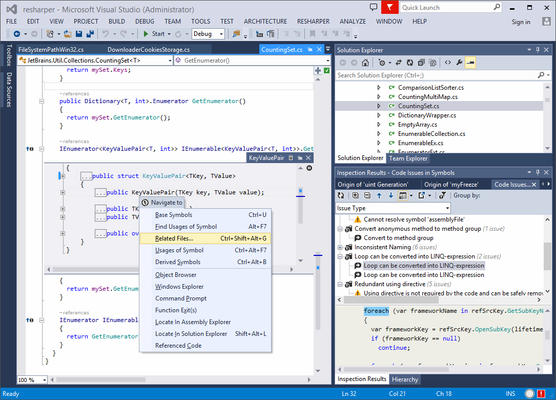 <strong>ReSharper Works Smoothly in VS</strong><br /><em><p>All ReSharper functionality is available in Visual Studio.</p>