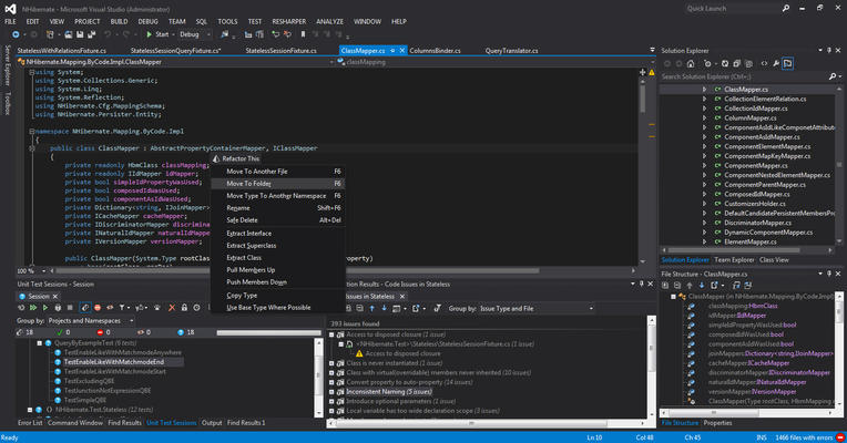 <strong>ReSharper</strong><br /><em><p>All ReSharper functionality is available in Visual Studio. Specific for that version of VS is the out-of-the-box support for both Light and Dark color themes.</p>