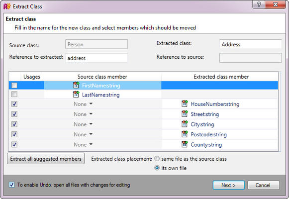 <strong>Setting up Extract Class</strong><br /><em>Extract Class wizard helps pick members to extract to a separate class, warns of any found dependencies and conflicts.</em><br /><br />