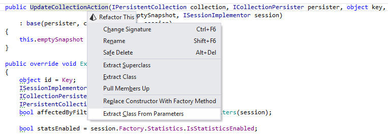 <strong>Extract Class from Parameters</strong><br /><em>This refactoring helps streamline your APIs: it creates a new class or struct and converts selected parameters of a method into encapsulated fields of the newly created type. Usages of parameters are converted to usages of properties of the created type.</em><br /><br />