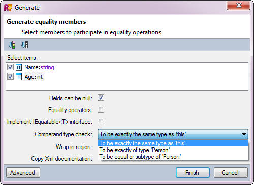 <strong>Generate Equality Members</strong><br /><em>Generate Equality Members wizard offers different ways of generating a working implementation of a type equality check.</em><br /><br />