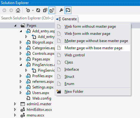 <strong>Generate Files</strong><br /><em>If the Generate menu is invoked from Solution Explorer, ReSharper offers a pack of options to generate new files: web forms, controls or master pages in web projects; classes, interfaces, structs and enumerations in all projects.</em><br /><br />