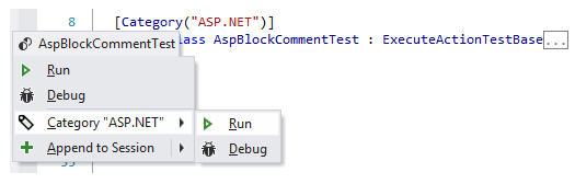 Manage Tests from the Code Editor