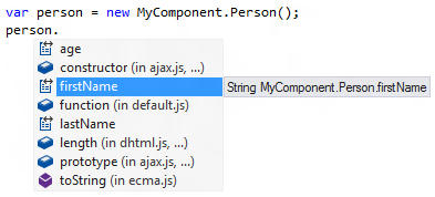 <strong>WinJS-enabled IntelliSense</strong><br /><em>Code completion is available for imported WinRT components invoked from JavaScript code - ReSharper even respects casing conventions!</em><br /><br />