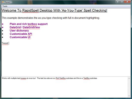 RapidSpell Desktop .NET(英語版) のスクリーンショット