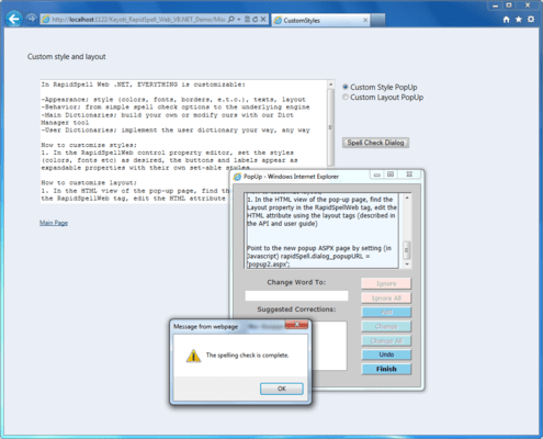 Screenshot of RapidSpell Web .NET