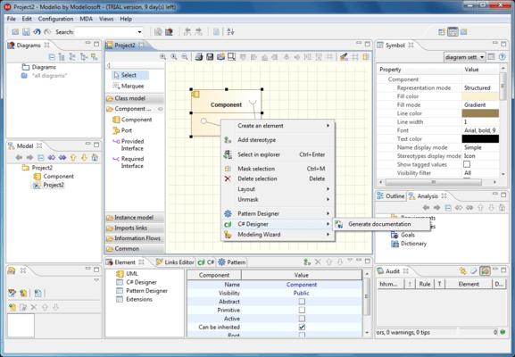 Modeliosoft C# Solution のスクリーンショット