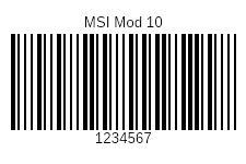 MSI Modulo 10 Barcode