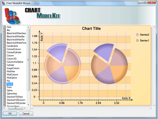 <strong>Chart Wizard</strong><br /><em>Double click on the ChartViewer component to run the Designer. When you open the designer the Wizard window also opens. Here you can select a chart from a number of existing templates. Select the chart from the list, click the OK button and the selected chart will be loaded in the designer.