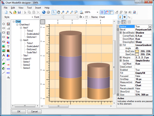 <strong>Chart Designer</strong><br /><em>The Chart ModelKit Designer is used for creating charts. Chart is an object, containing various elements. Every element has a set of properties which are displayed in the Properties Window. You can edit properties in this window. Visual and non-visual elements are available through the Insert menu or buttons on the ToolBox. In order to place an element into the chart, you should select this element in the Insert menu or on the Toolbox and then click the mouse button in the work area or holding the mouse button down, stretch the element to the required size. Chart structure is displayed in the Chart outline window. You can change elements position by dragging them with a mouse.