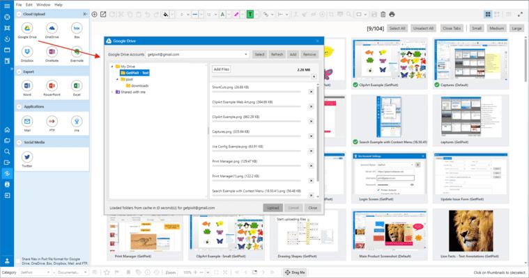 GoogleDrive integration enables uploading images to cloud