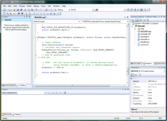 Screenshot of XLL Plus for Visual Studio 2008 and 2010