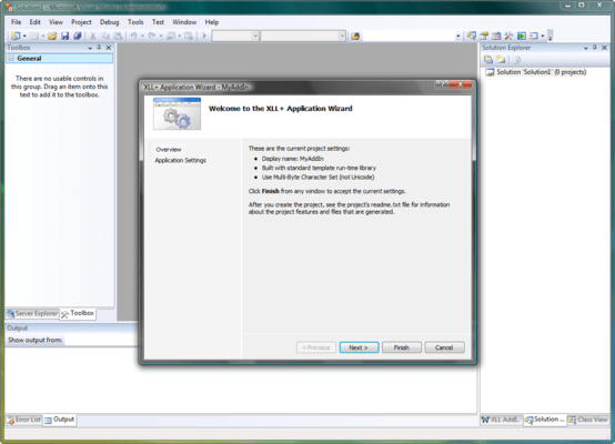 Screenshot of XLL Plus for Visual Studio 2012 and 2013