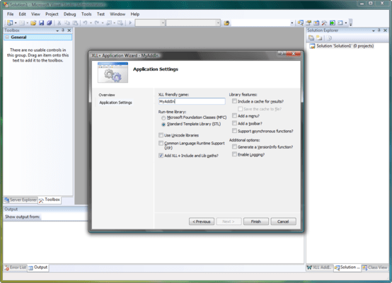 Screenshot of XLL Plus for Visual Studio 2012