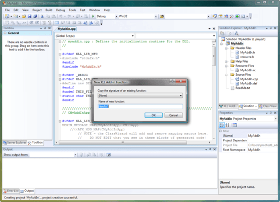 Screenshot of XLL Plus for Visual Studio 2013