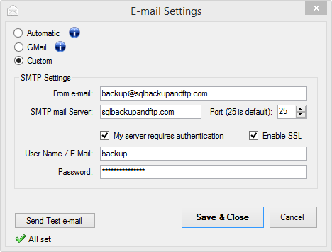 <strong>E-mail settings</strong><br /><br />