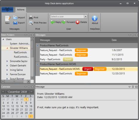Telerik UI for WinForms - Helpdesk