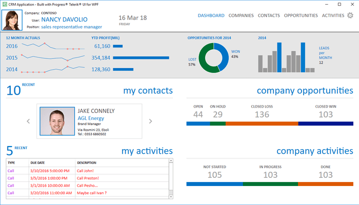 Telerik UI for WPF - CRM Dashboard Page