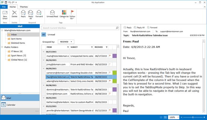 Telerik UI for WPF - Outlook Style - Inbox