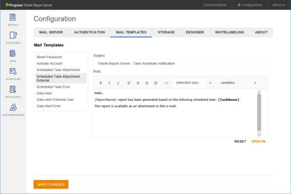 Telerik Report Server - Mail Templates