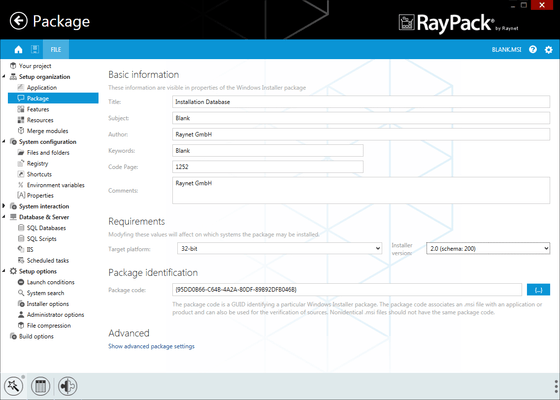 Screenshot of RayPack Enterprise