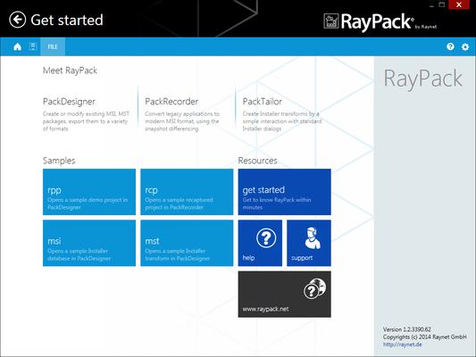 Screenshot of RayPack Professional
