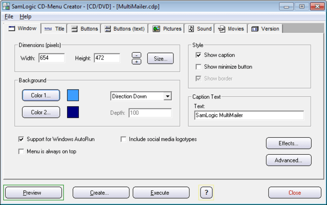 Screenshot of SamLogic CD-Menu Creator
