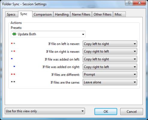 Session Settings - Synchronize Folders.