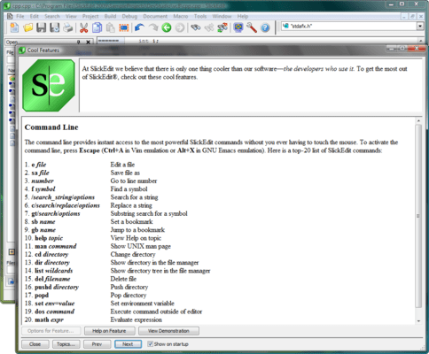 Screenshot of SlickEdit for Linux and Mac