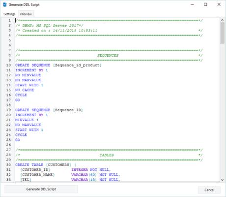 Generating DDL Script