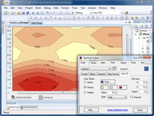 Design Time integrated Chart and Series editor