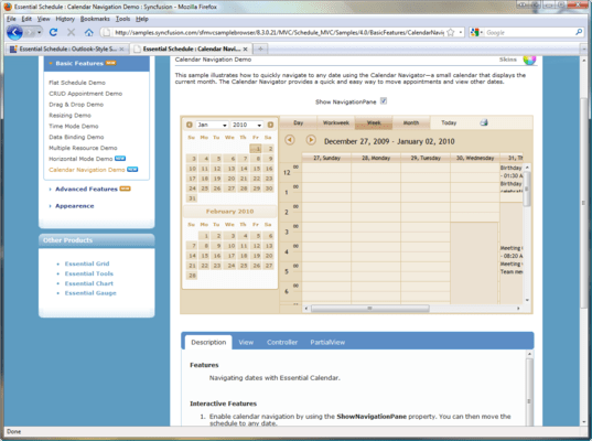 Screenshot of Syncfusion Essential Schedule for ASP.NET MVC
