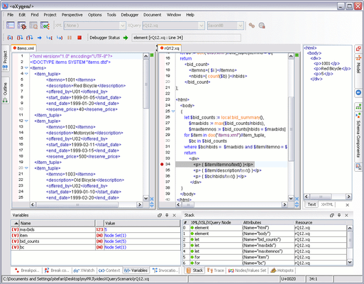 XQuery Debugging Perspective
