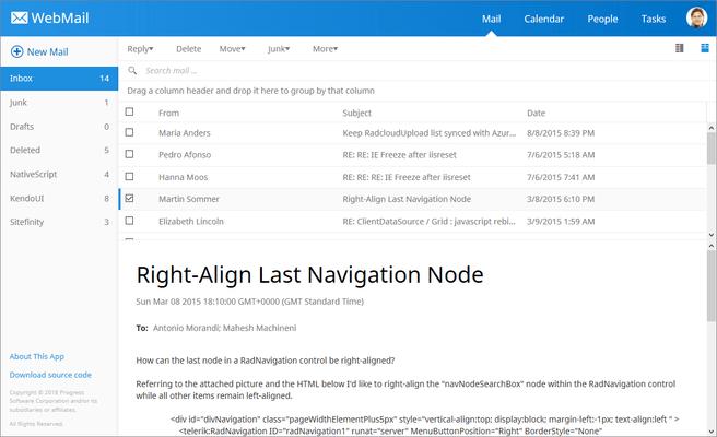Telerik UI for ASP.NET MVC - Webmail