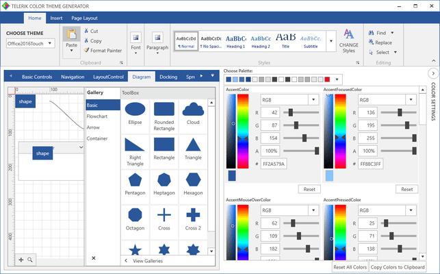 Telerik UI for WPF - Theme Generator - Office 2016 Touch