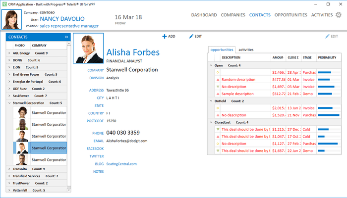 Telerik UI for WPF - CRM Contacts Page