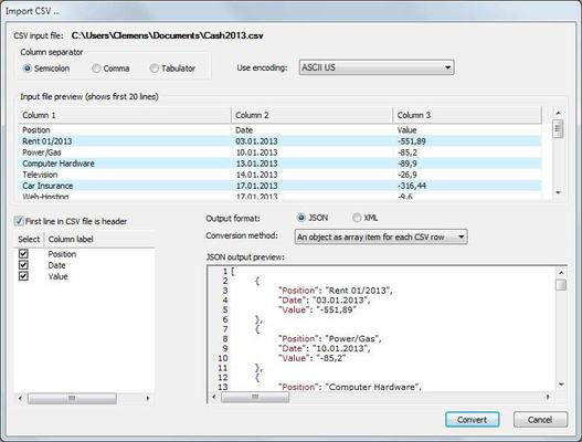Import CSV data and generate JSON or XML output