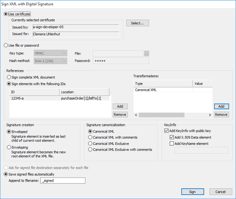 Complete solution for XML Digital Signatures with support for SHA-2