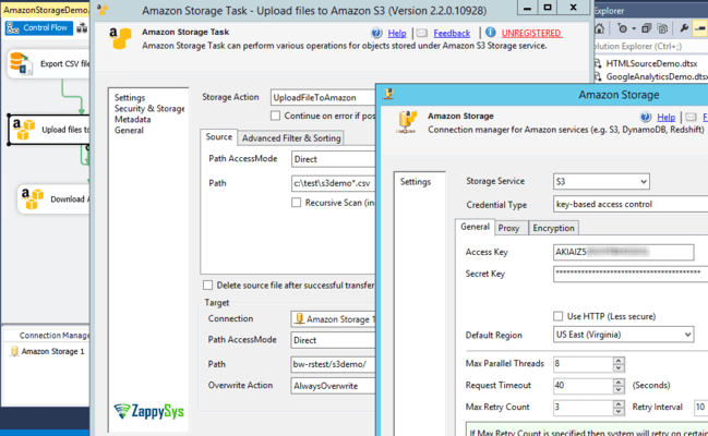 SSIS Amazon S3 Storage Task (AWS Cloud)