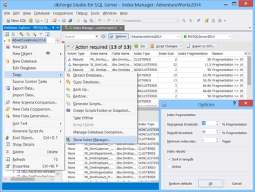 dbForge Studio for SQL Server adds Index Manager