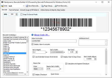 Neodynamic Barcode Professional for Windows Forms - Standard Edition V9