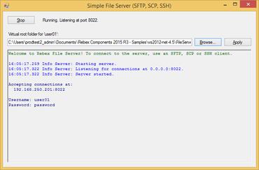 Rebex File Server 2016 R2