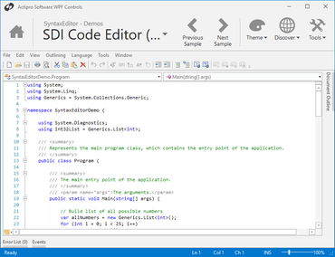 Actipro SyntaxEditor for WPF 2017.1 build 0652